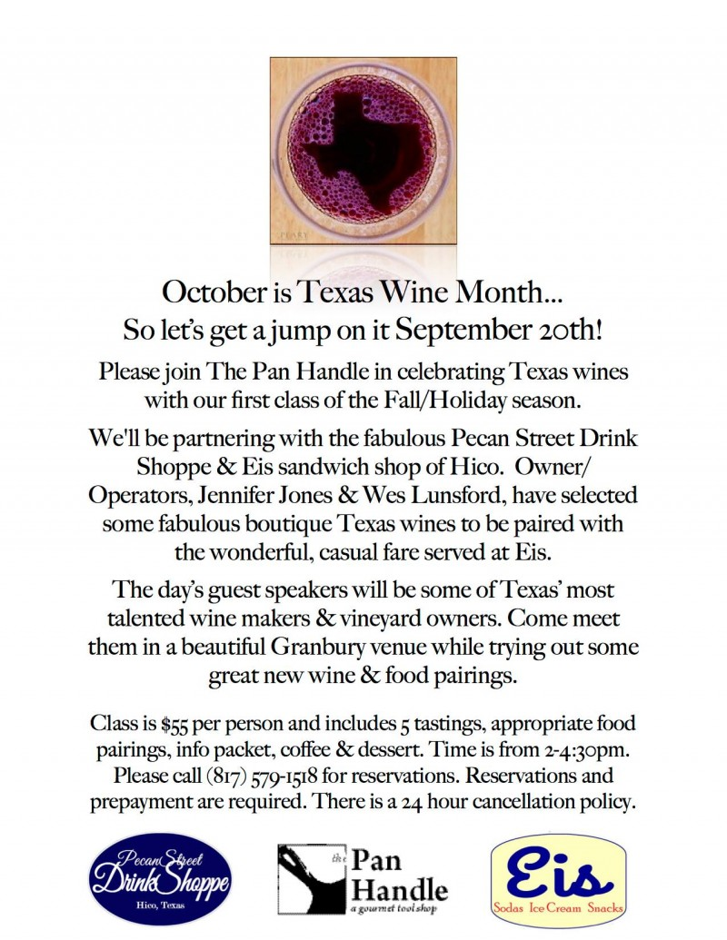 The Pan Handle Celebrates Texas Wines Class @ A Beautiful Location on Lake Granbury | Granbury | Texas | United States