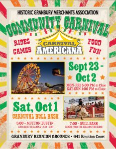 OFFICIAL POSTER, historic granbury merchants association carnival, granbury carnival