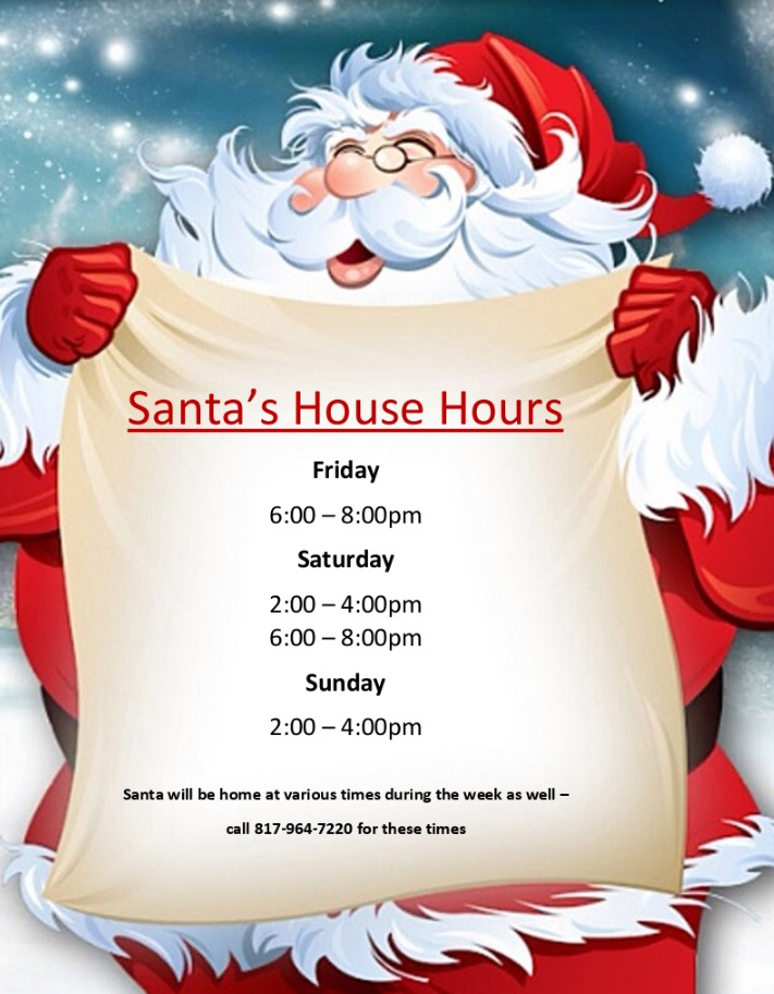 Visit Santa at Cozy New House @ Santa House on the Granbury Square | Granbury | Texas | United States