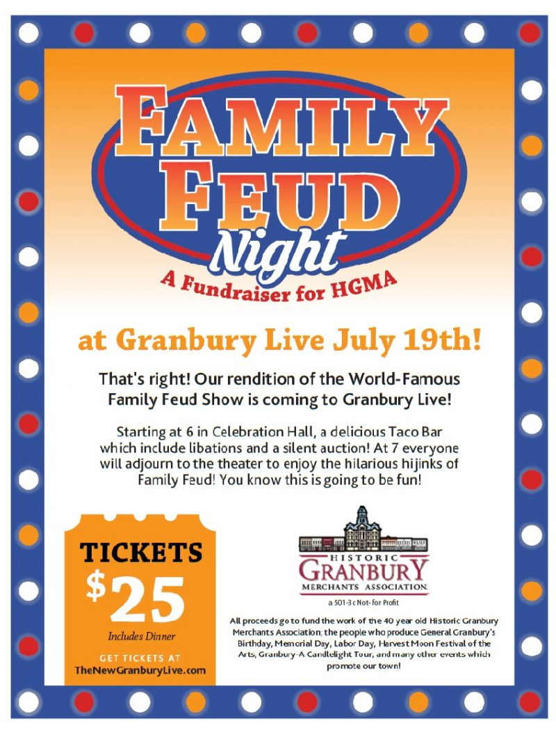 Family Feud Night a Fundraiser for the Historic Granbury Merchants Assoc. @ Granbury Live | Granbury | Texas | United States